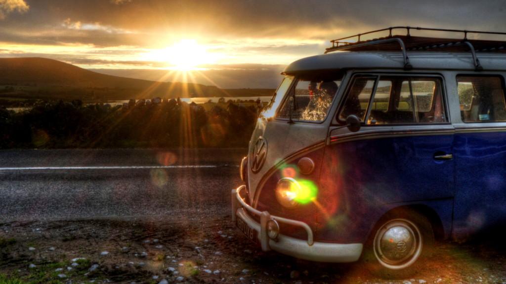sunset on vw bus - 1800 - 16x9