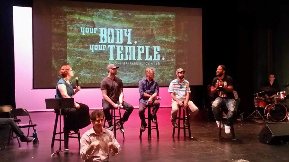 panel on stage at bodhi spiritual center chicago for your body your temple - august 2016